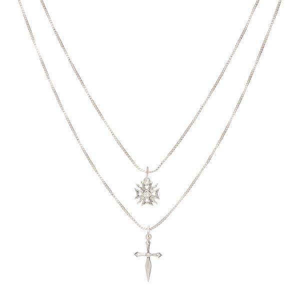 The Double Fleur Cross Necklace- Silver | Luv Aj