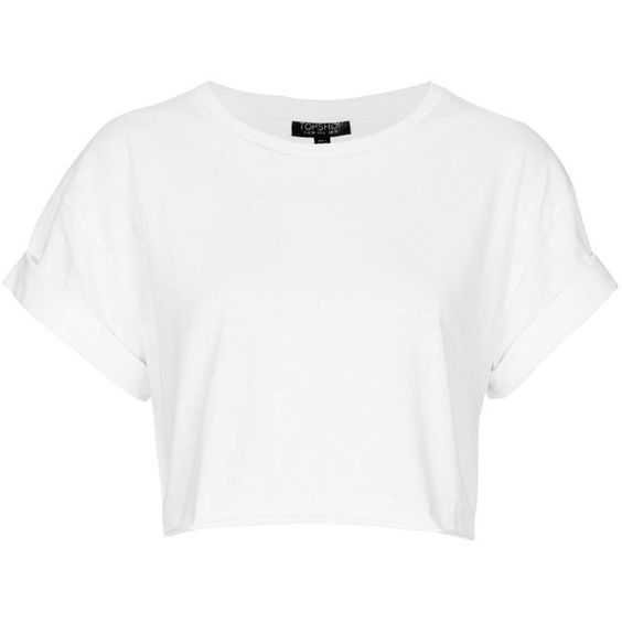 OPSHOP Roll Back Crop Tee ($20) ❤ liked on Polyvore featuring tops, t-shirts, shirts, crop tops, white, t shirts, cotton crop top, crop top, white shirt and white crop top