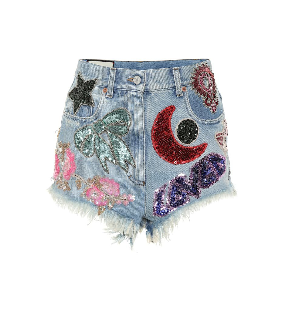 Gucci - Sequinned denim shorts