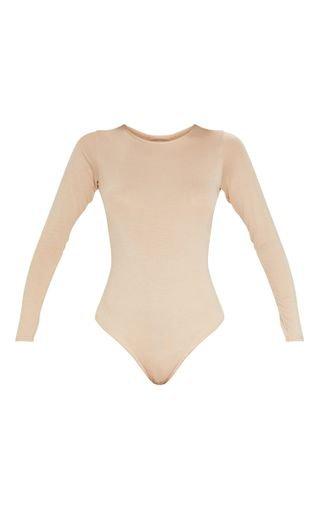 Basic Stone Crew Neck Long Sleeve Bodysuit | PrettyLittleThing