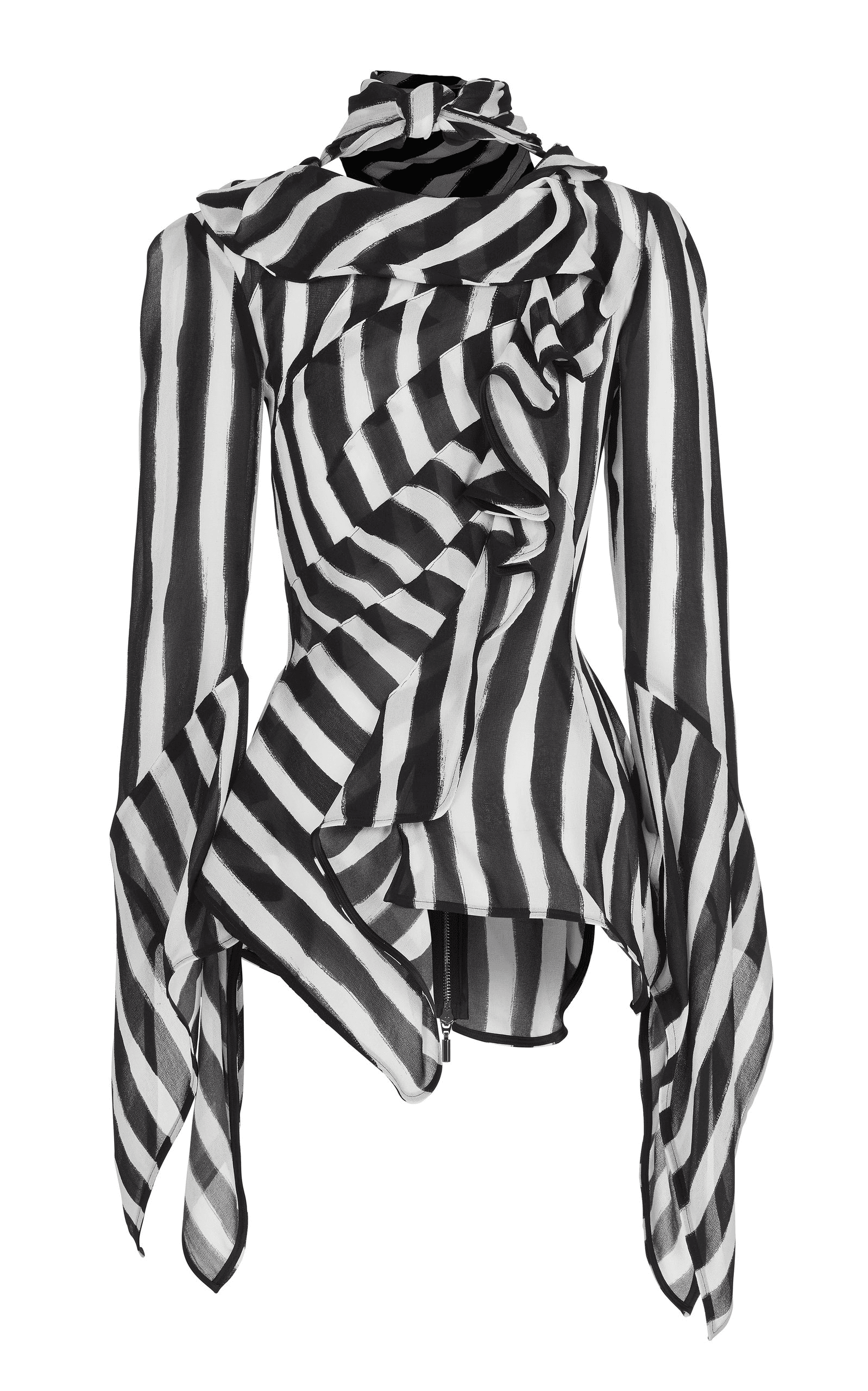 Maticevski Maintain Striped Chiffon Bell Sleeve Blouse | ModeSens