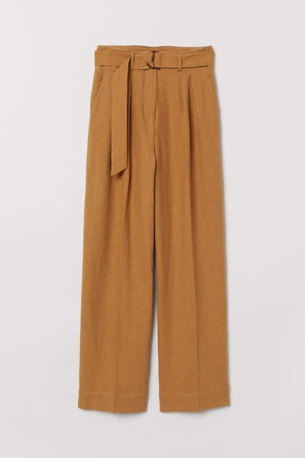 Linen-blend Paper-bag Pants - Beige