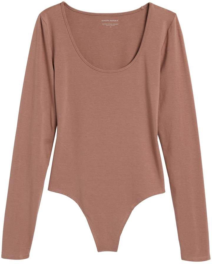 Petite Scoop-Neck Thong Bodysuit