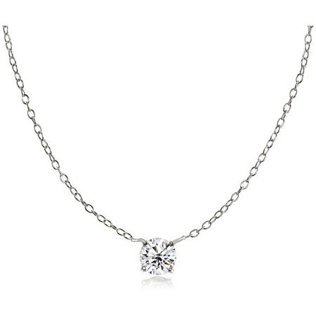 Round CZ Sterling Silver Small Dainty Choker Necklace