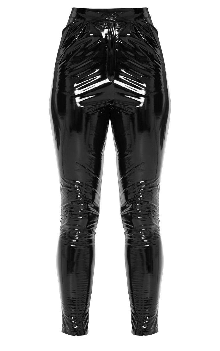 Tall Black Vinyl Slim Leg Pants   Tall   PrettyLittleThing USA