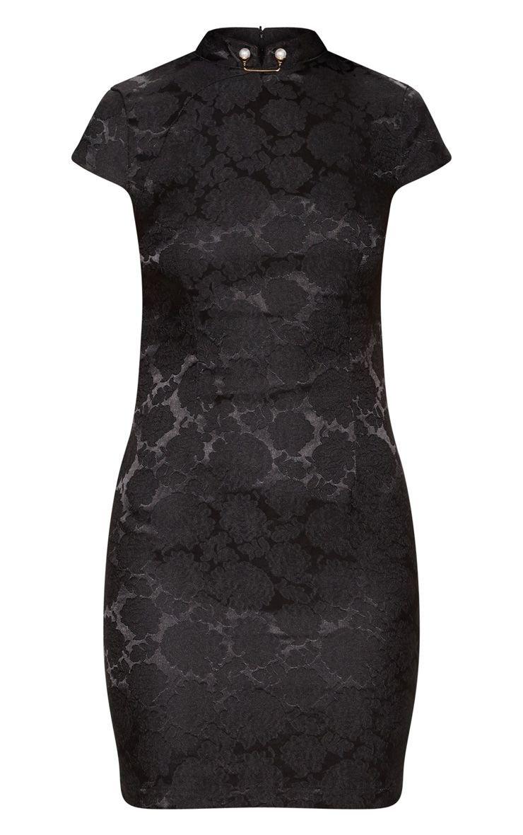 Black Floral Satin Bodycon Dress | Dresses | PrettyLittleThing USA