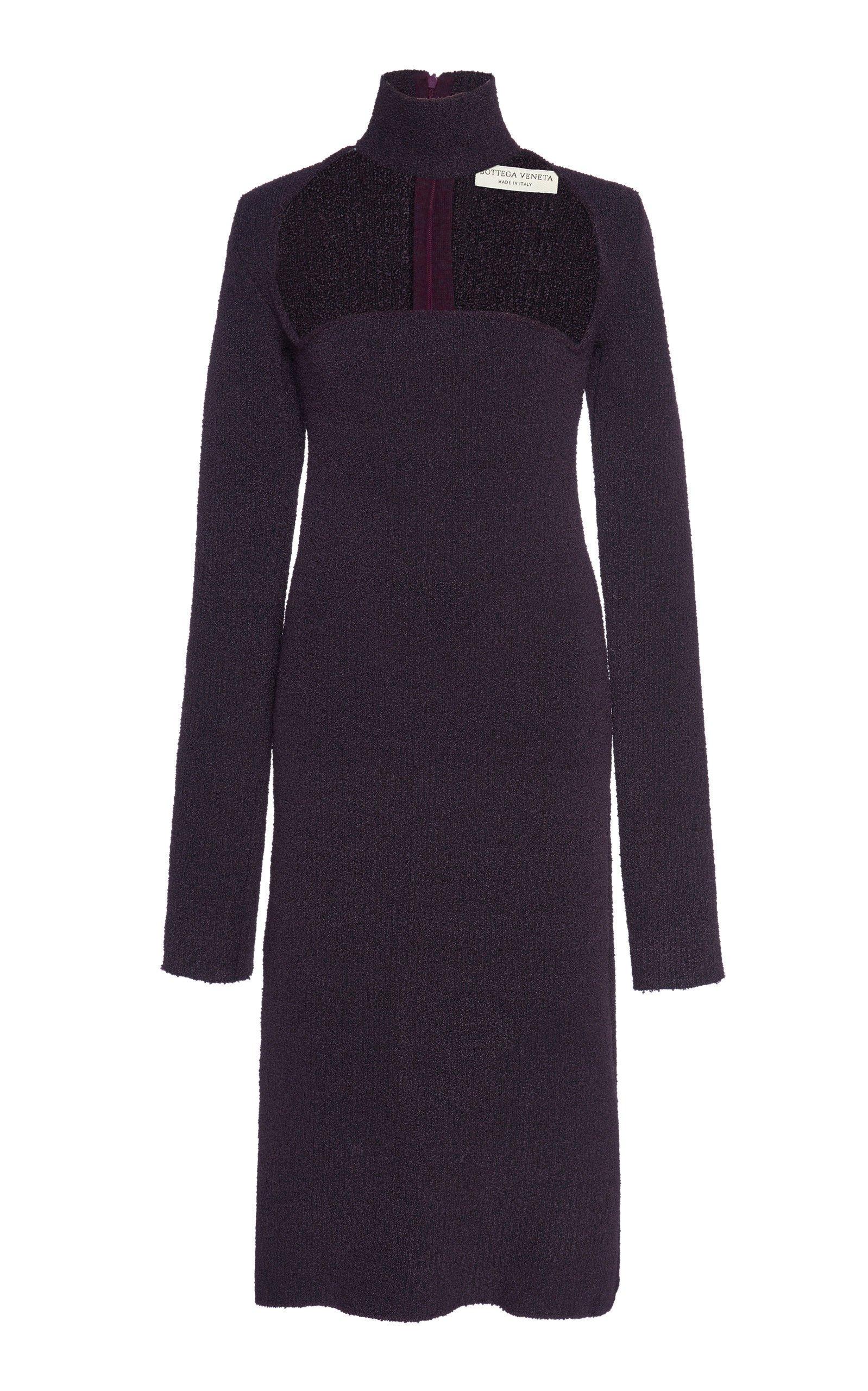 Bottega Veneta Cutout Turtleneck Stretch-Wool Crepe Midi Dress