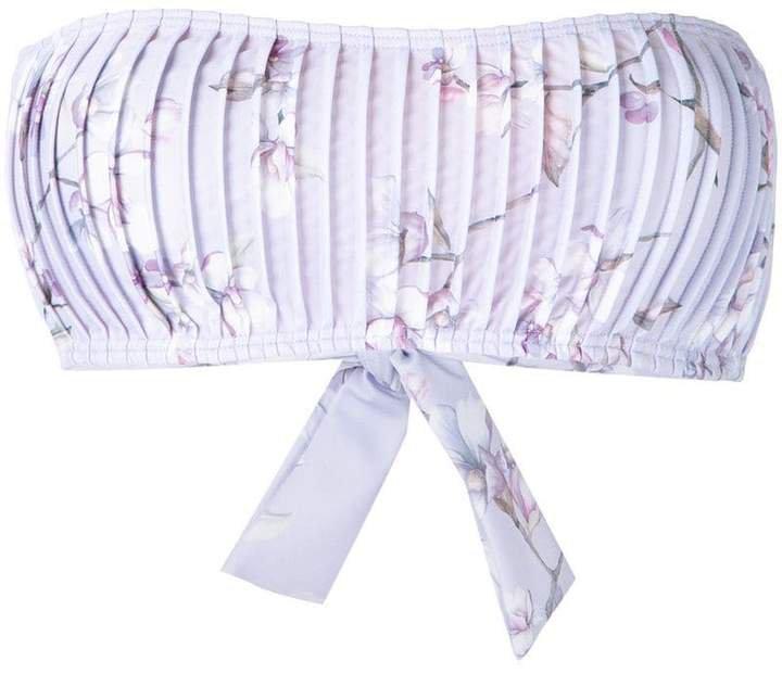Peony Blossom pintucked bandeau bikini top