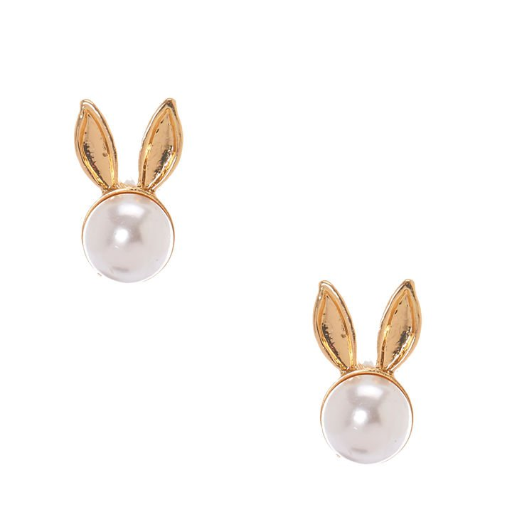 White Faux Pearl Gold Bunny Ears Stud Earrings | Icing US
