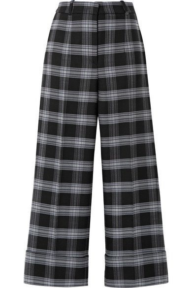 Michael Kors Collection | Cropped checked wool-blend straight-leg pants | NET-A-PORTER.COM