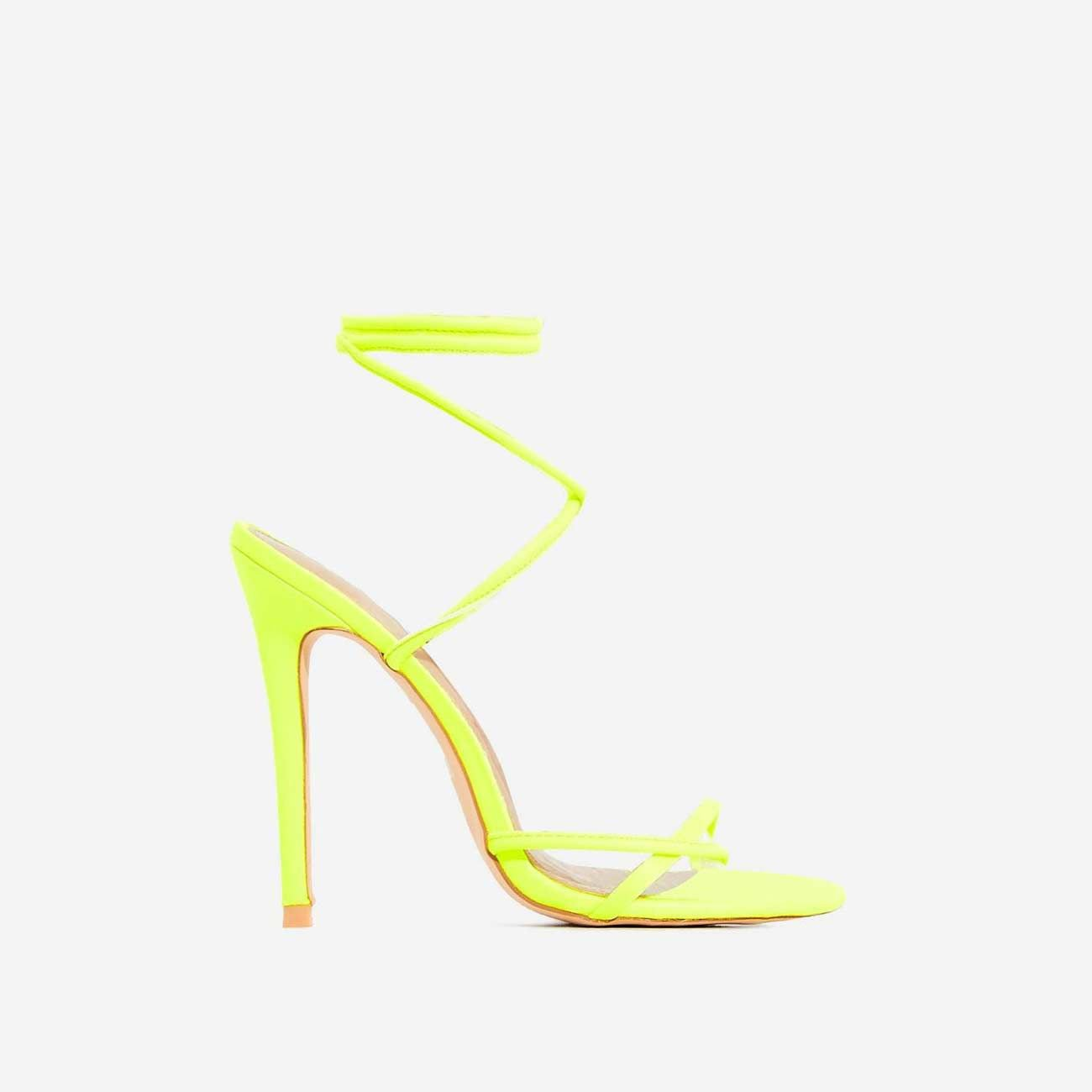 Rochelle Lace Up Barely There Heel In Neon Yellow Faux Leather   EGO