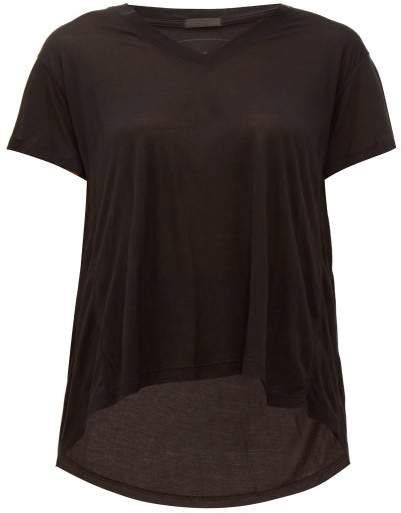 Atm - Slouchy V Neck T Shirt - Womens - Black