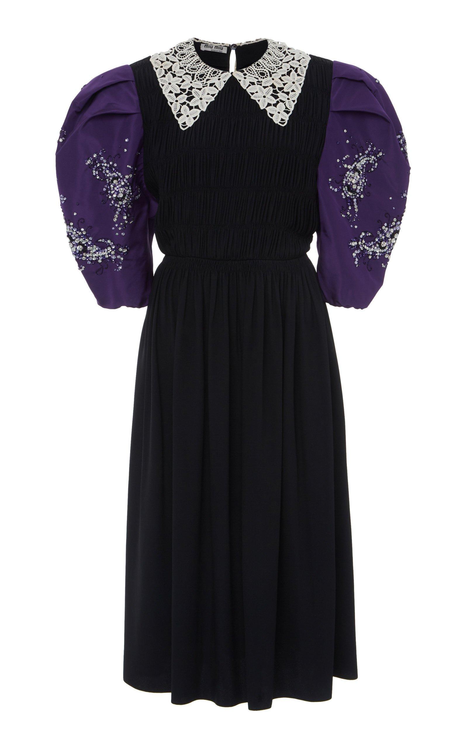 Miu Miu Collared Puff Sleeve Midi Dress