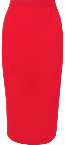 Arreton Wool-crepe Skirt - Red