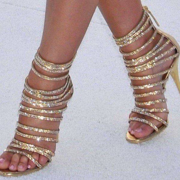 Gold Evening Shoes Rhinestone Stiletto Heel Strappy Sandals for Party for Night club, Big day, Red carpet   FSJ