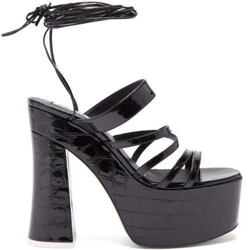 The Greta Crocodile Embossed Leather Platform Sandals - Womens - Black