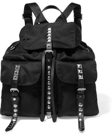 Studded Leather-trimmed Shell Backpack - Black