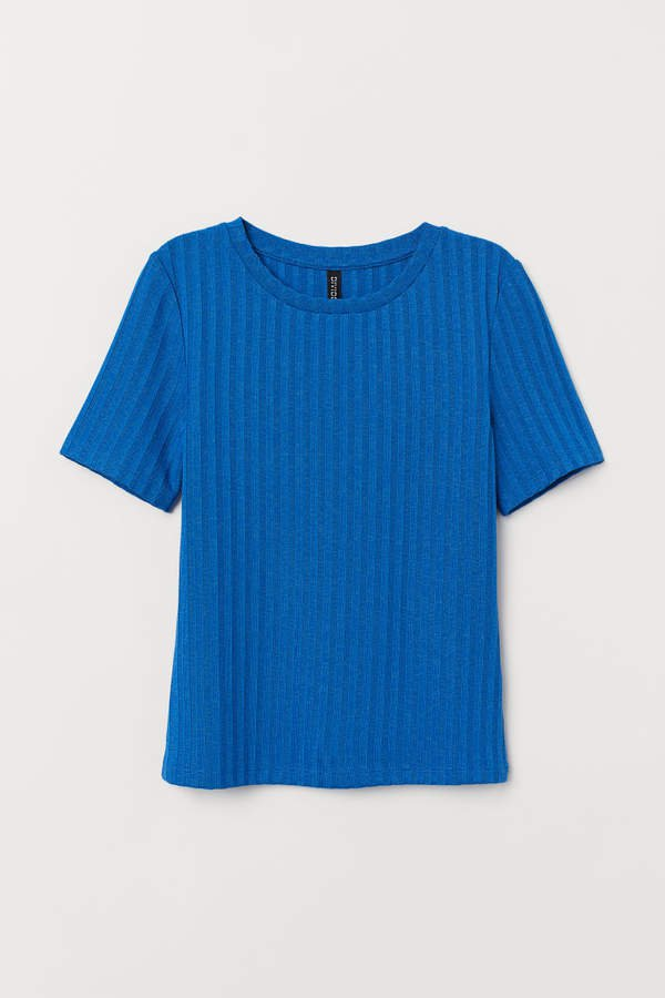 Ribbed T-shirt - Blue