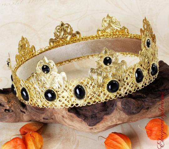 BLACK AGATE - Gold Male crown - olenagrin