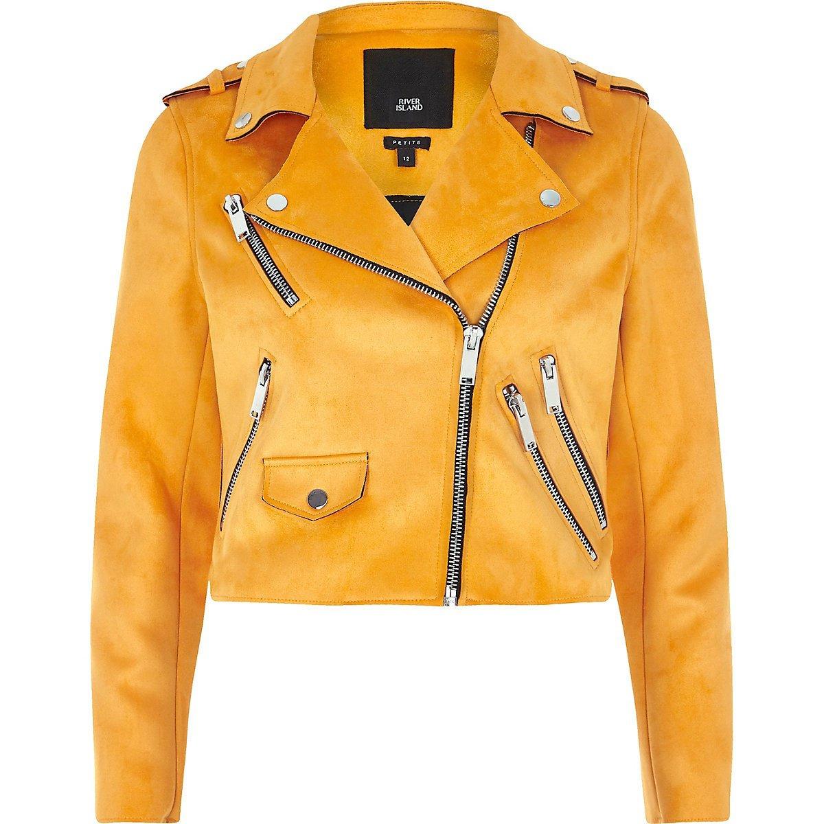 Petite orange faux suede biker jacket - Jackets - Coats & Jackets - women