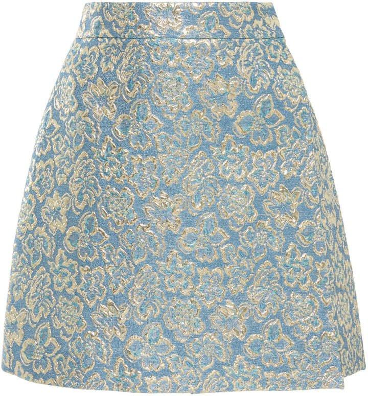 High-Waisted Lurex Mini Skirt