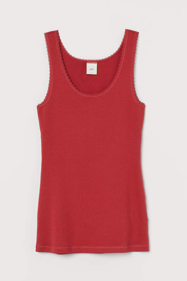 Tank Top with Lace - Red