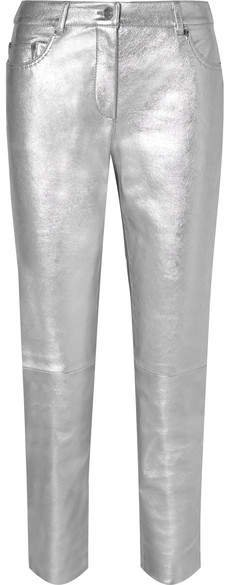 Metallic Leather Skinny Pants - Silver