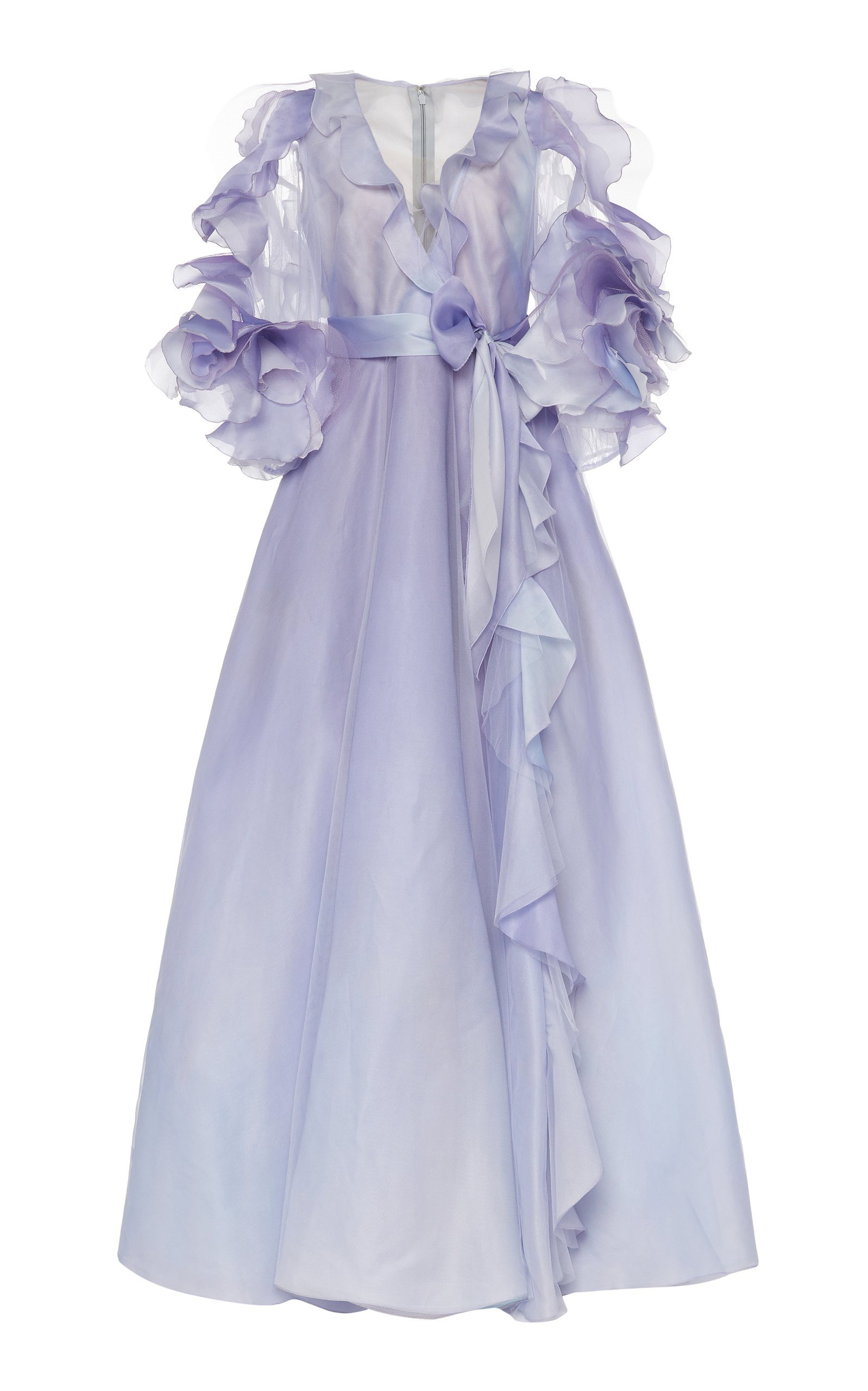 Marchesa Ruffle-Accented Ombre Organza Gown