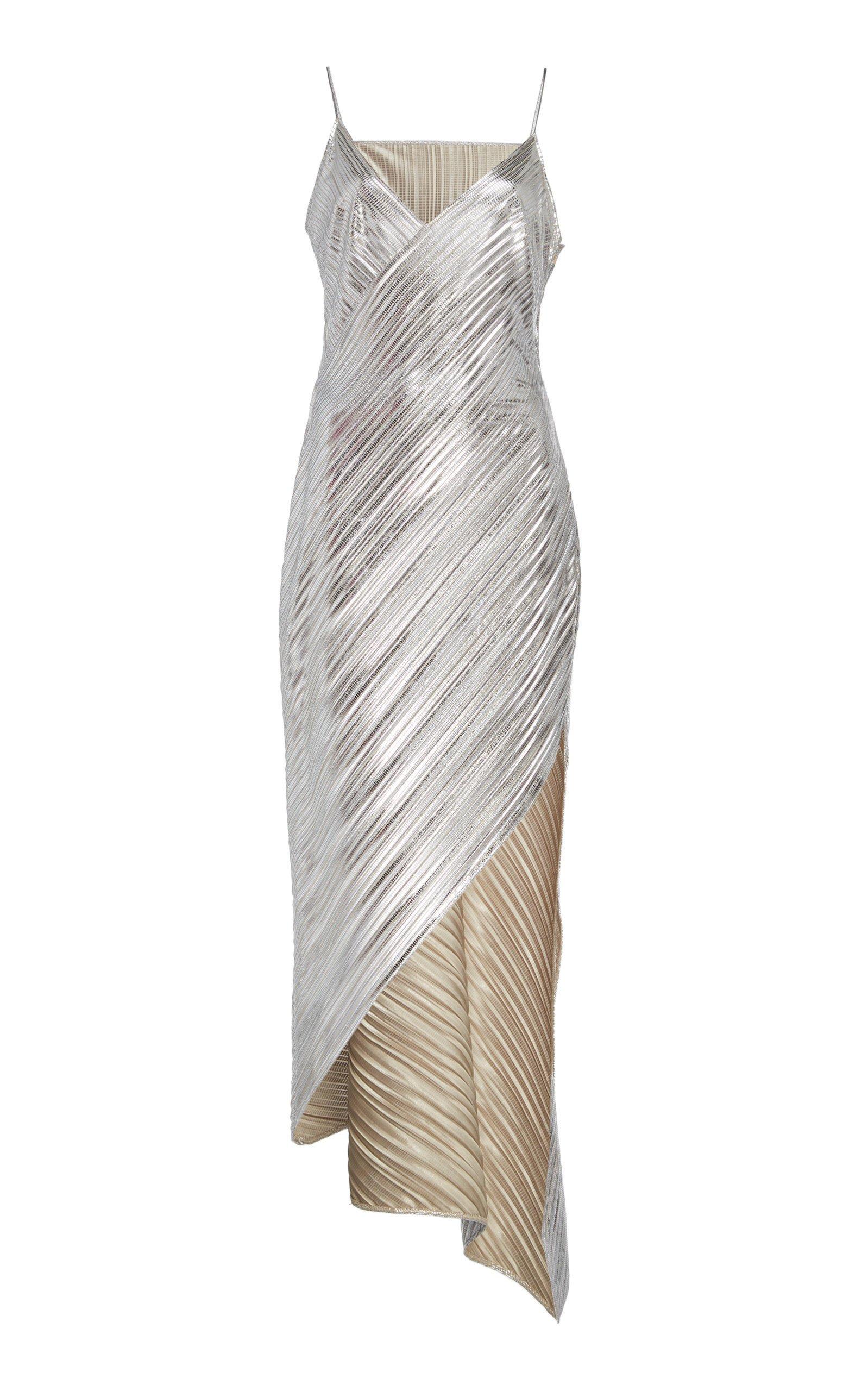 David Koma Lame Asymmetrical Cocktail Dress