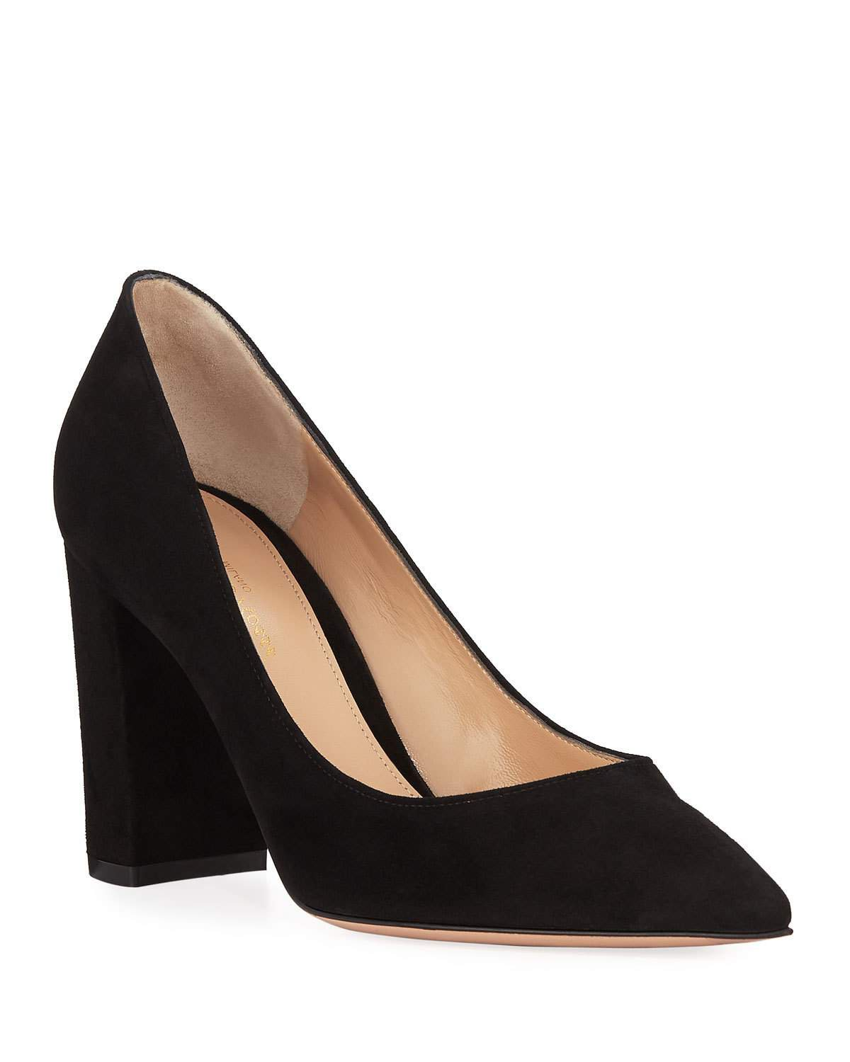 Gianvito Rossi Suede Pointed-Toe Pumps with Chunky Heel | Neiman Marcus