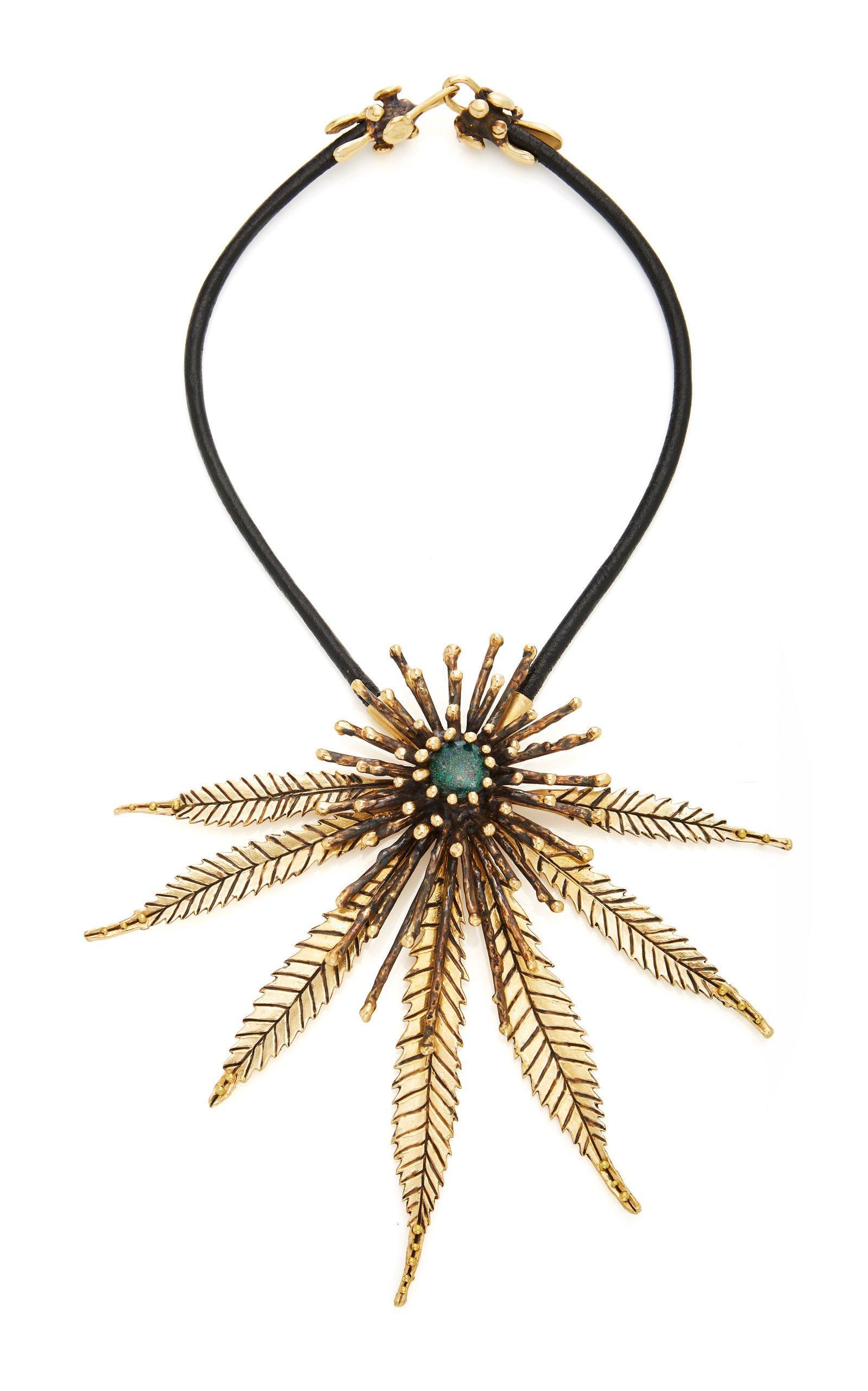 Lisa Eisner Australian Black Opal Leaf Necklace