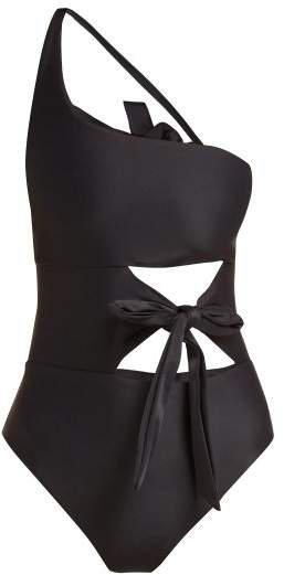 Collision Tie Front Swimsuit - Womens - Black