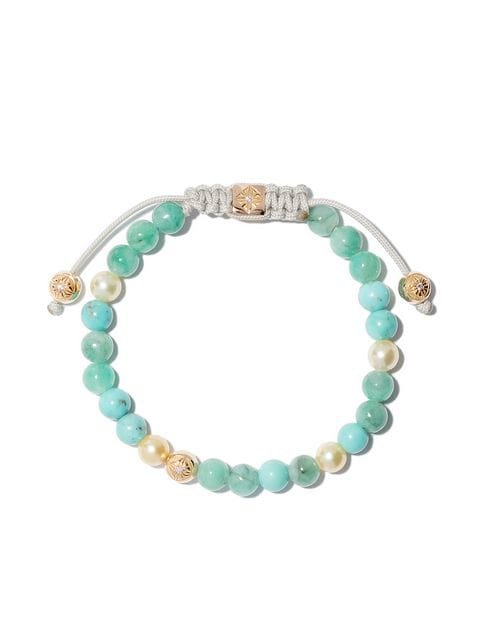 Shamballa Jewels 18kt yellow gold, diamond & emerald beaded bracelet