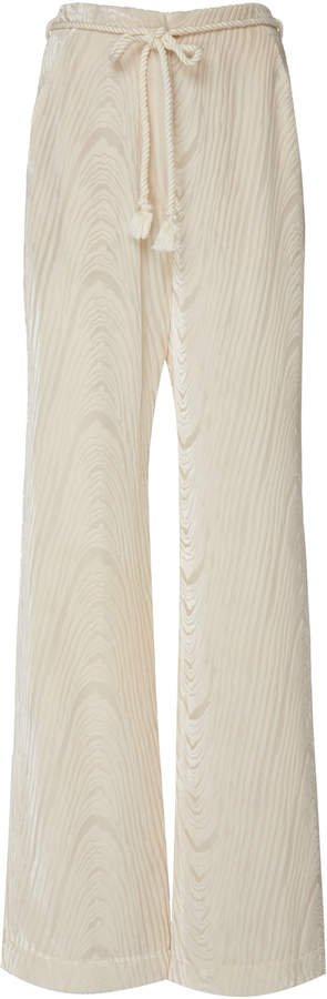Giada Belted Satin-Jacquard Wide-Leg Pants