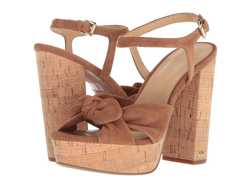 MICHAEL Michael Kors - Pippa Platform (Luggage Kid Suede/Cork) Women's Sandals