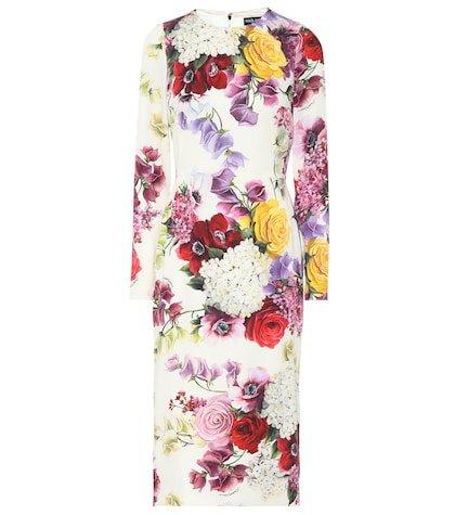Floral stretch silk midi dress