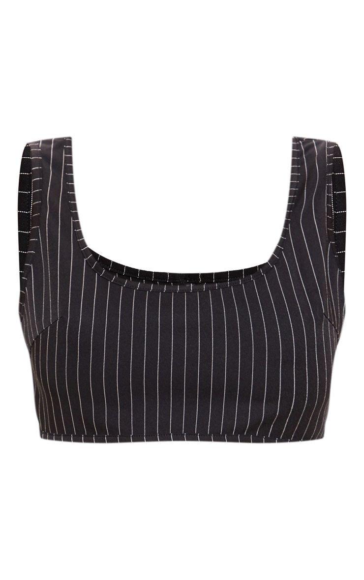 Black Pinstripe Sleeveless Scoop Neck Crop Top   PrettyLittleThing