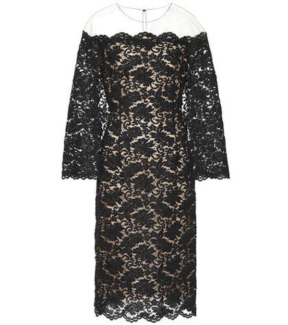 Lace and mesh midi dress