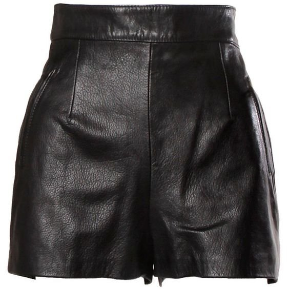 Moschino Vintage Black Leather High Waisted Shorts