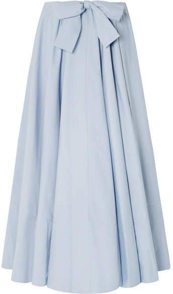 Cotton-poplin Maxi Skirt - Light blue