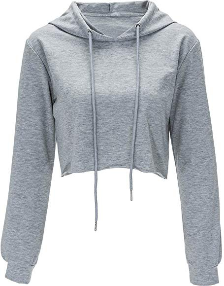 Amazon.com: Hoodies for Women Workout Crop Top Hoodie Hooded Pullover Sweatshirt (Gray, S): Gateway