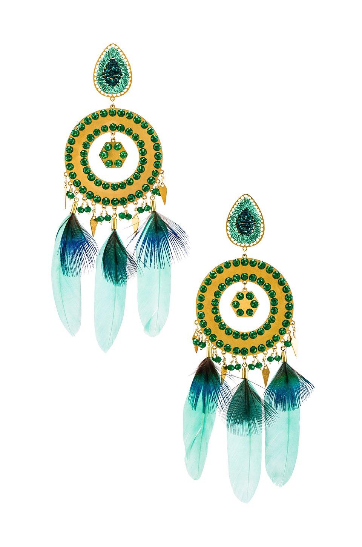 Mercedes Salazar Feather Earrings in Blue