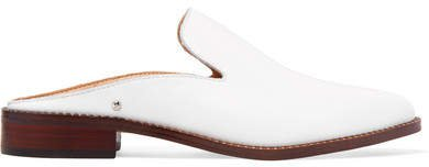 Crystal-embellished Leather Slippers - White