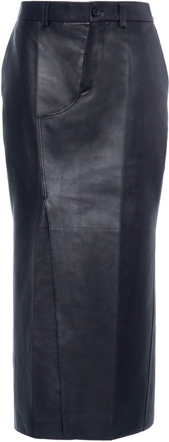 Marni Fitted Leather Midi Skirt Size: 38