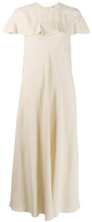 short-sleeve flared maxi dress