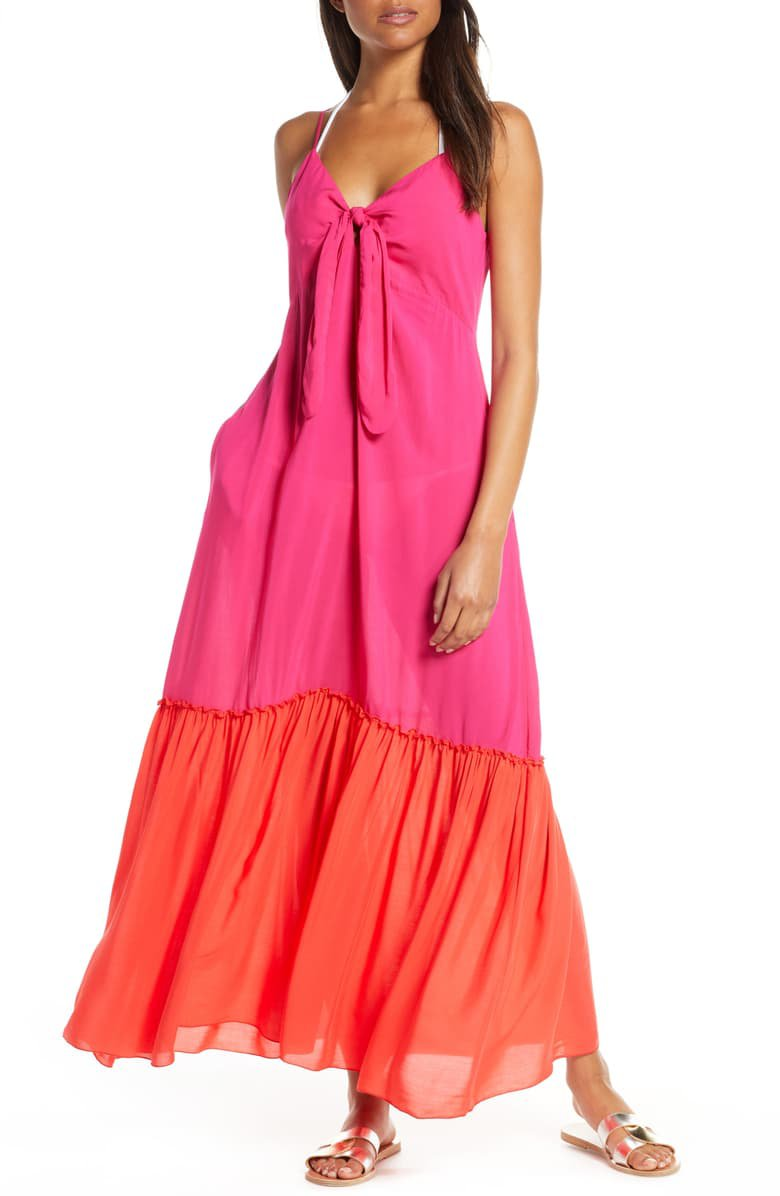 Elan Colorblock Cover-Up Maxi Dress | Nordstrom