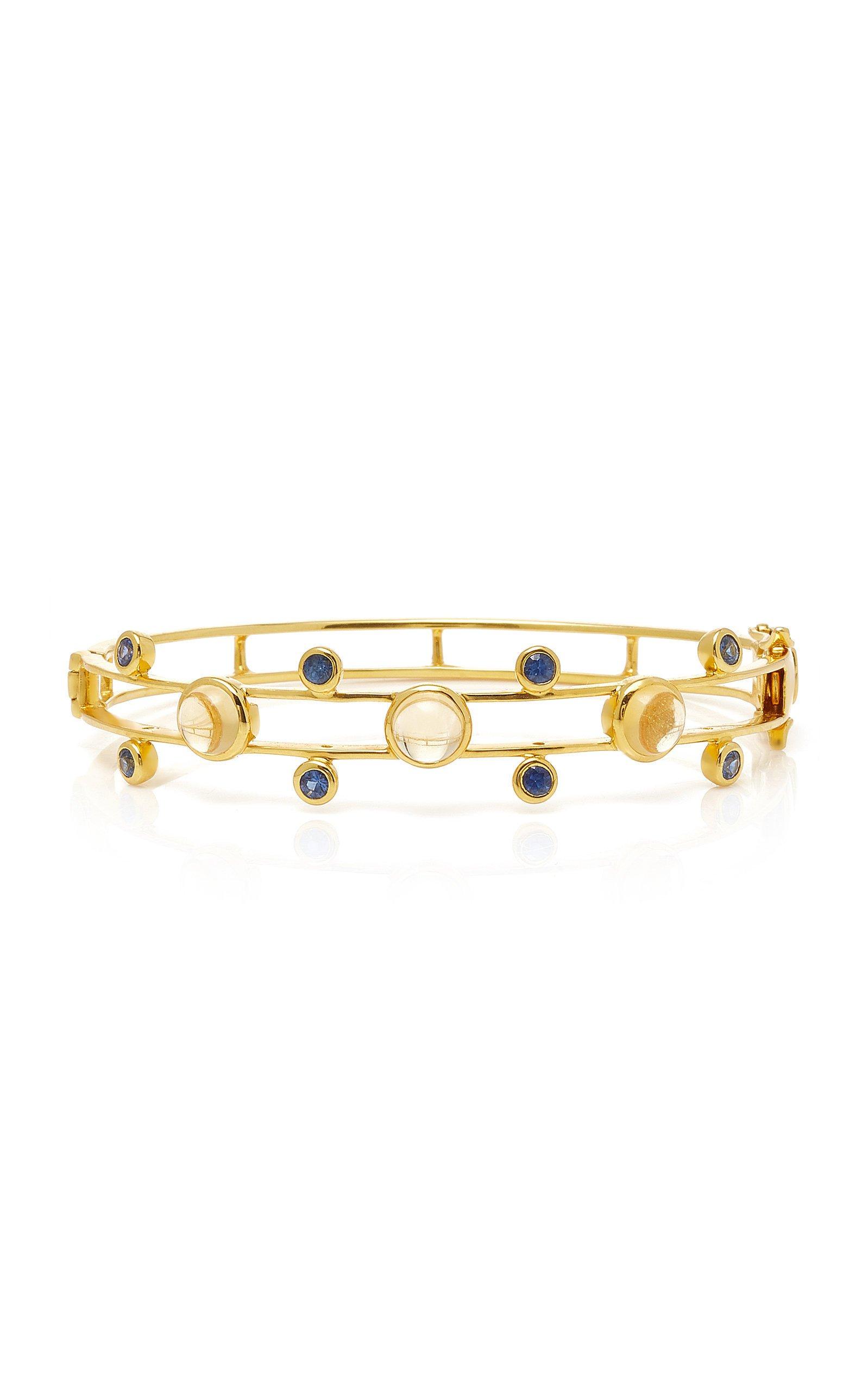 M.Spalten Orbit 18K Gold Citrine And Sapphire Bracelet