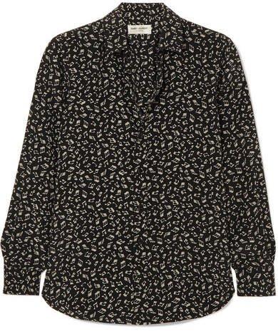 Printed Silk Crepe De Chine Shirt - Black