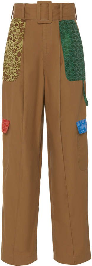 Patchwork Twill Cargo Pants