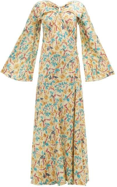 Floral Print Satin Dress - Womens - Yellow Multi